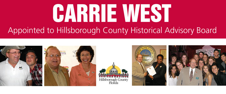 Carrie West Appointed to Hillsborough County Historical Advisory Board